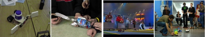 A football robot, swimming fish made from a spray polish bottle, Technogames sprint competition, and robot soccer